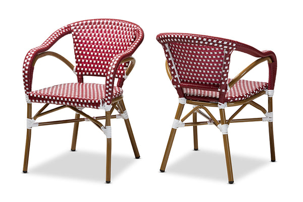 Eliane Classic French Indoor and Outdoor Red and White Bamboo Style Stackable Bistro Dining Chair Set of 2