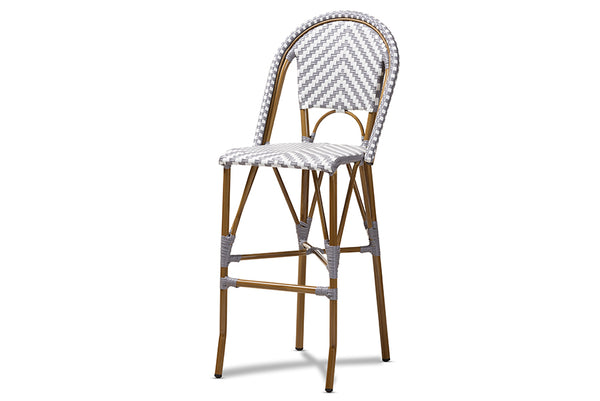 Ilene Classic French Indoor and Outdoor Grey and White Bamboo Style Stackable Bistro Bar Stool