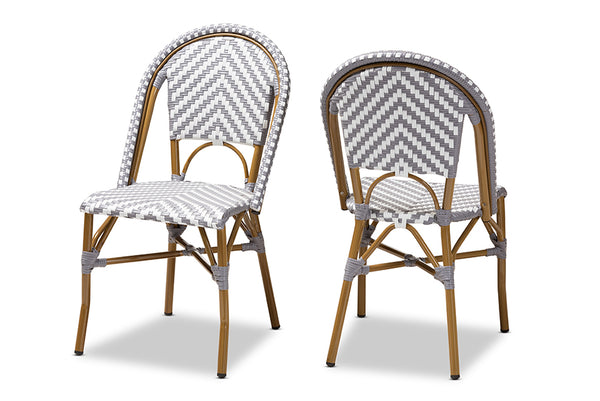 Celie Classic French Indoor and Outdoor Grey and White Bamboo Style Stackable Bistro Dining Chair Set of 2