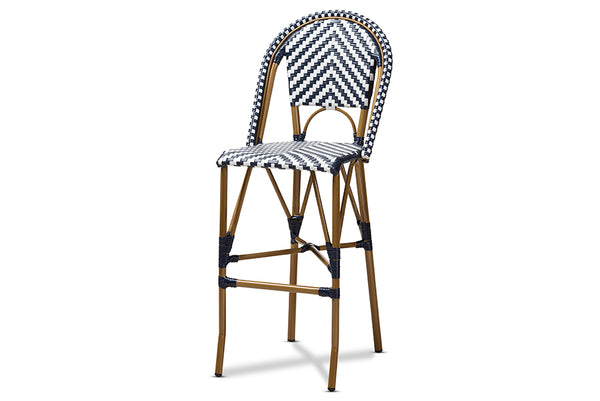 Ilene Classic French Indoor and Outdoor White and Blue Bamboo Style Stackable Bistro Bar Stool