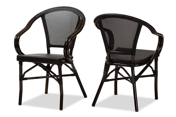 Artus Black Bamboo Outdoor Chair Set of 2