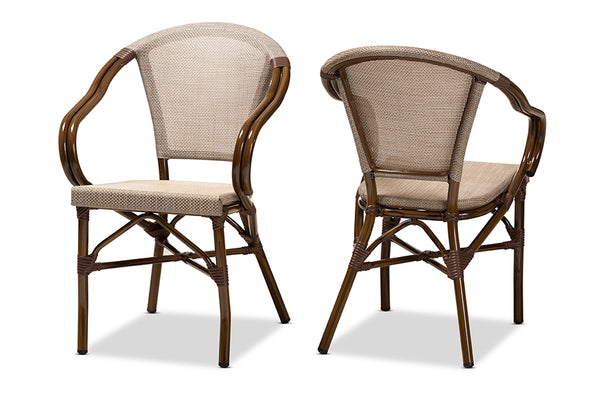 Artus Tan Bamboo Outdoor Dining Chair Set of 2