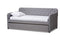 Camelia   Grey   Button-Tufted Twin Size Sofa Daybed with Roll-Out Trundle Guest Bed