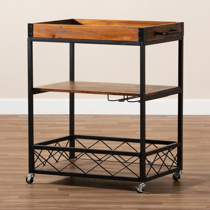 Capri Oak Mobile Metal Bar Cart