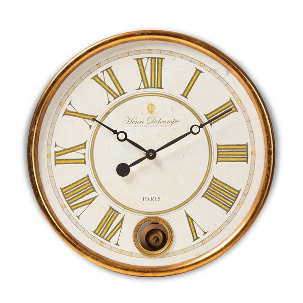 Alexandre Vintage Gold Finished Wall Clock