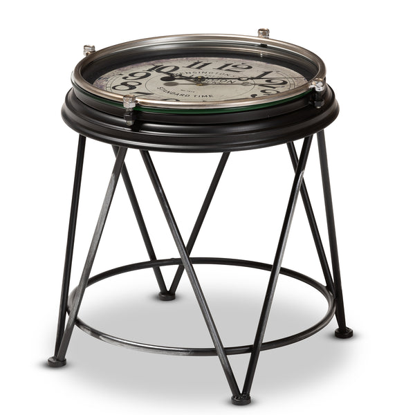 Vintage Accent Table with Inlaid Clock