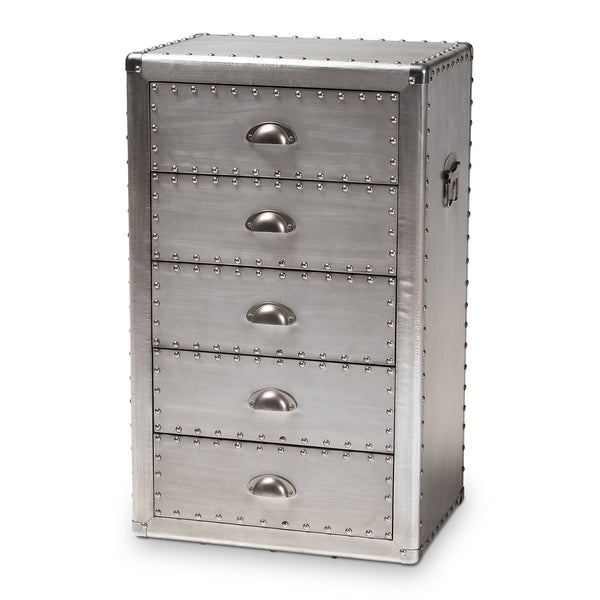 Davet Silver Metal 5-Drawer Chest