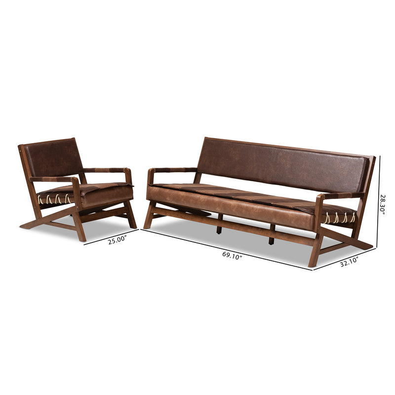 Rovelyn Leather 2-Piece Living Room Set
