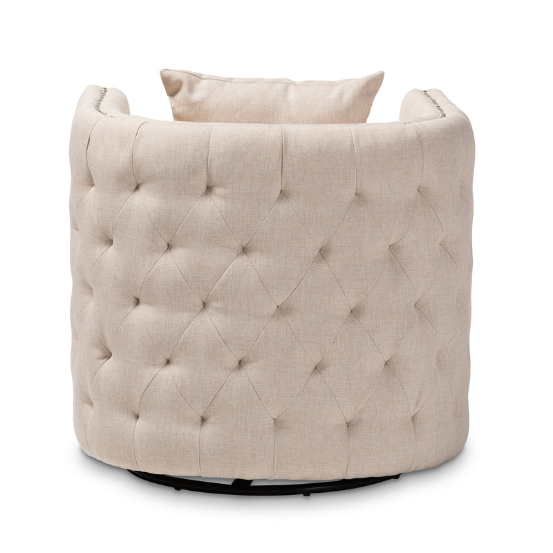 Micah Beige Tufted Swivel Chair