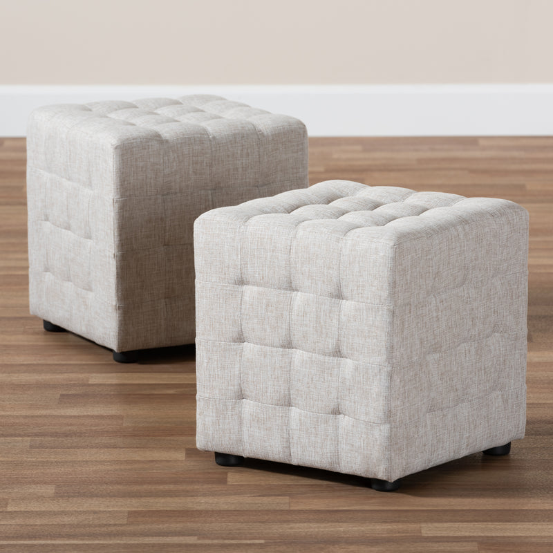 Elladio Beige Tufted Cube Ottoman Set of 2