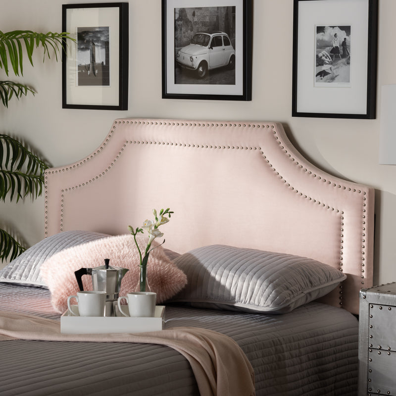 Avignon Light Pink Velvet King Size Headboard
