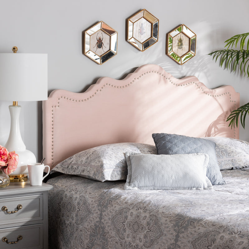 Nadeen Light Pink Velvet Queen Size Headboard