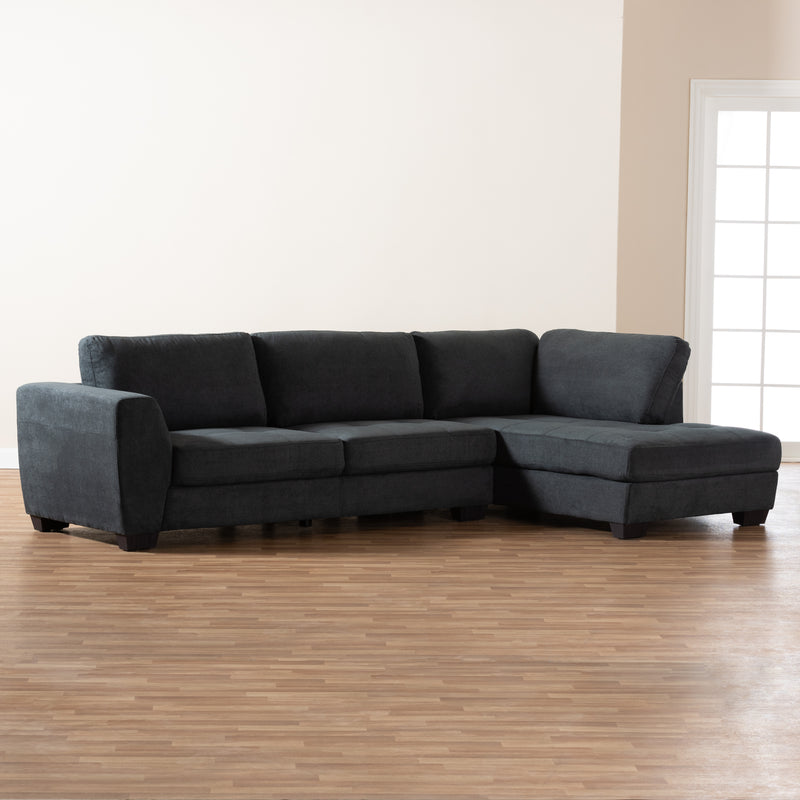 Petra Charcoal Right Facing Sectional Sofa