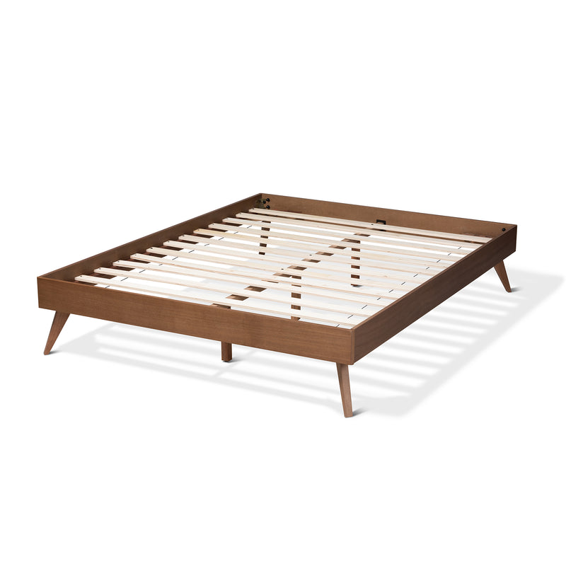 Lissette Walnut Queen Size Platform Bed Frame