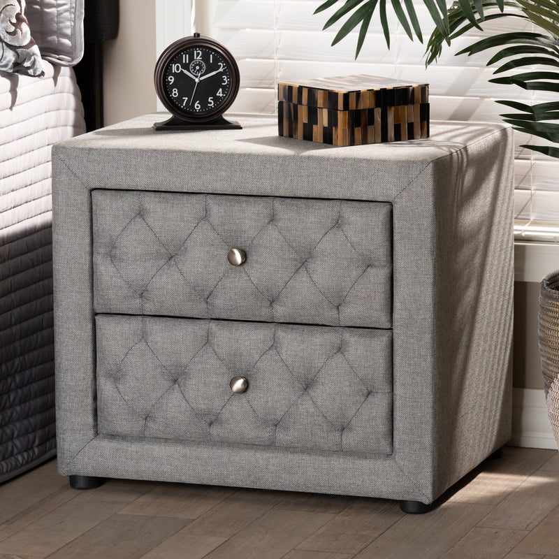 Lepine Gray Upholstered 2-Drawer Nightstand