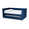 Amaya Navy Blue Velvet Queen Size Daybed with Trundle