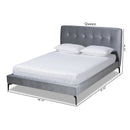 Ingrid Silver Grey Velvet Queen Size Platform Bed