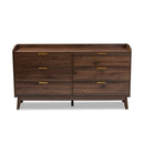 Lena Walnut  6-Drawer Dresser