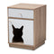 Engel Oak and White  1-Door Wood Cat Litter Box Cover House
