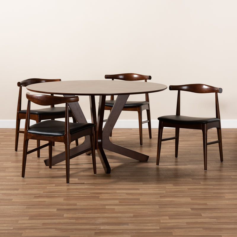 Berlin Walnut 5-Piece Wood Dining Set
