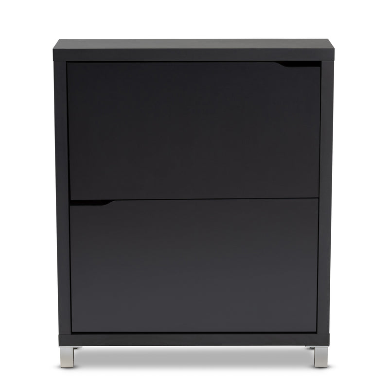 Simms Dark Grey Storage Cabinet with 4 Fold-Out Racks