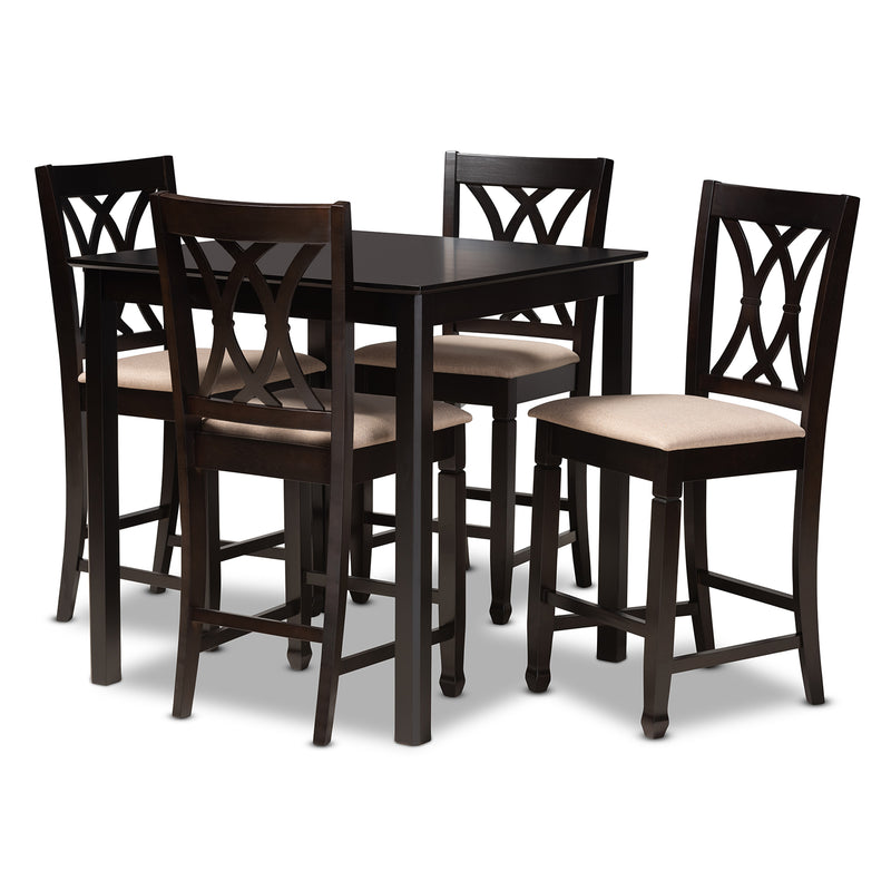 Reneau Espresso 5-Piece Wood Pub Set