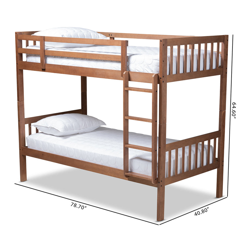 Jude Walnut Twin Size Bunk Bed
