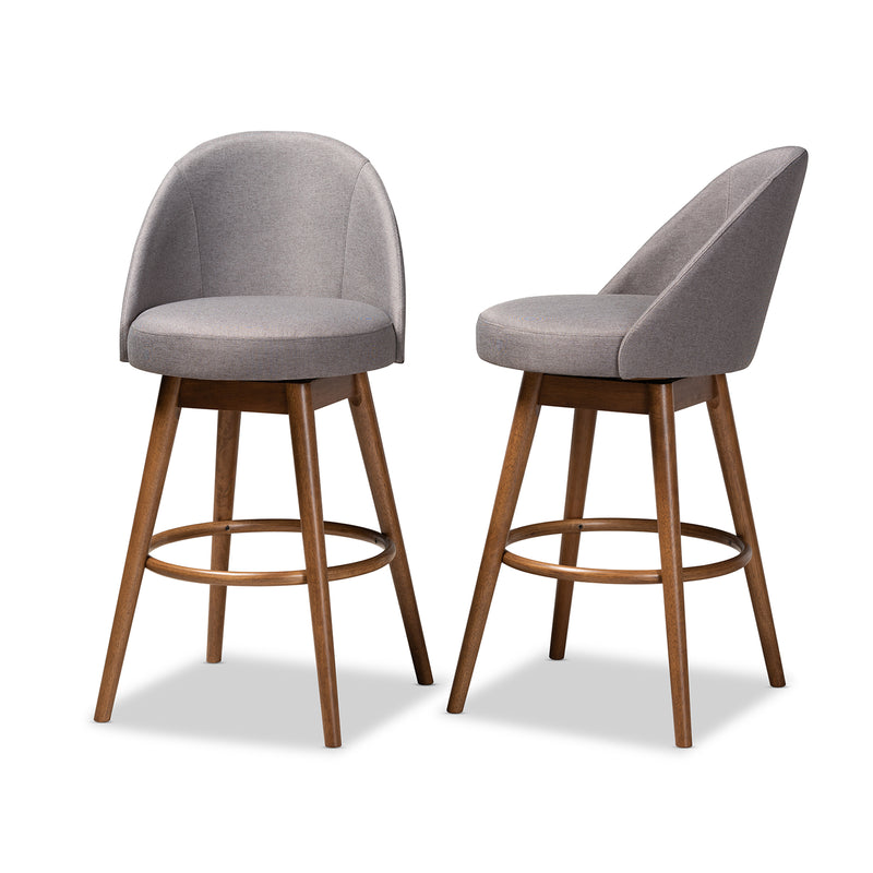 Carra Grey Swivel Bar Stool Set of 2