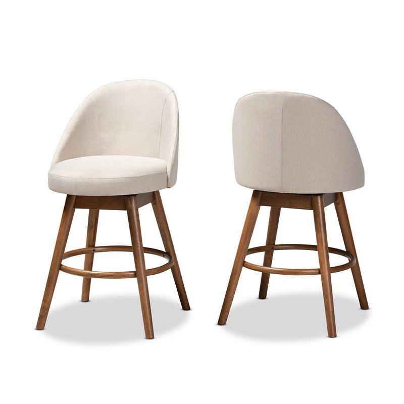 Carra Beige Swivel Bar Stool Set of 2