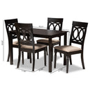 Lucie Espresso 5-Piece Wood Dining Set
