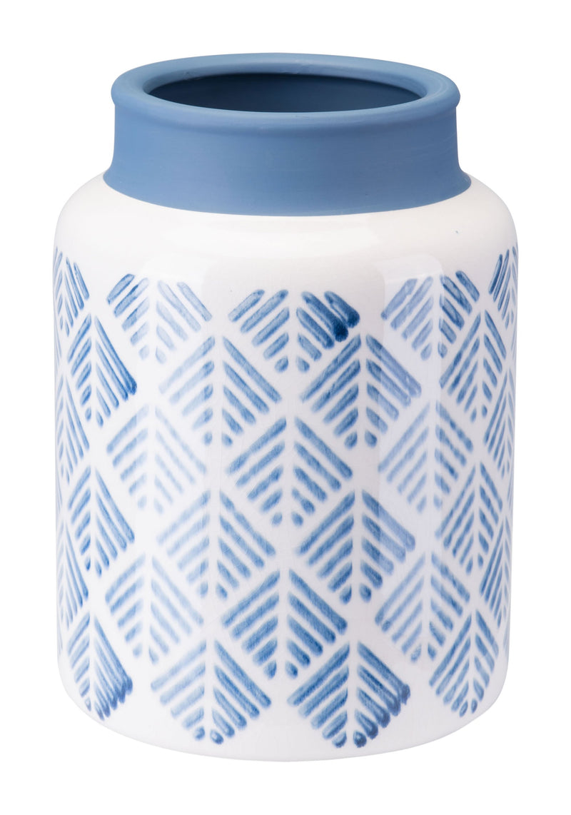 Zig Zag Vase Sm Steel Blue And White