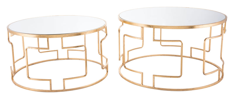 King Set Of 2 Tables Gold