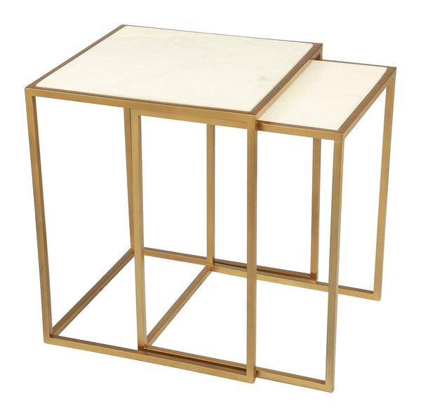 Kensington Nesting Tables Stone & Brass