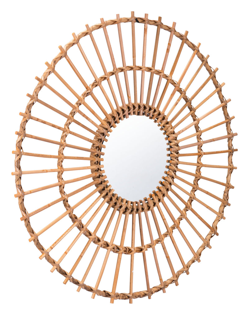Ronda Round Mirror Brown