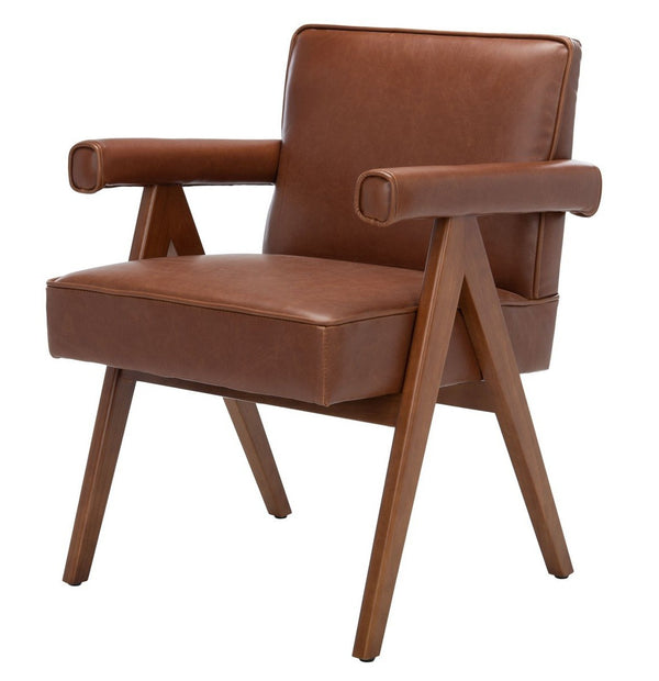 Suni Leather Mid Century Arm Chair