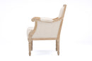 Chavanon Wood & Light Beige Linen Traditional French Accent Chair