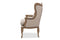 Oreille French Provincial Style White Wash Distressed Two-tone Beige Upholstered Armchair