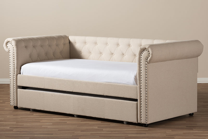 Mabelle   Beige Fabric Trundle Daybed