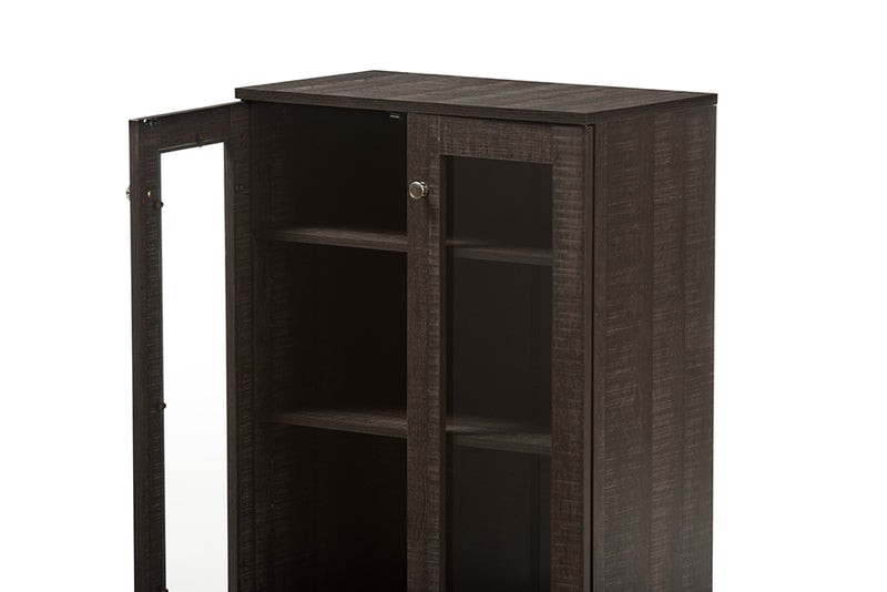 Mason   Dark Brown Multipurpose Storage Cabinet Sideboard with Two Class Doors