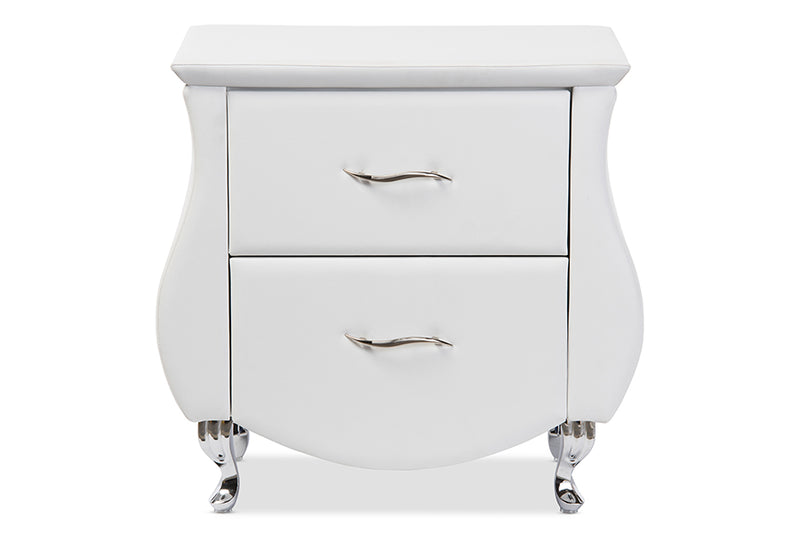 Erin   White   Leather Upholstered Nightstand