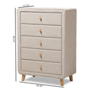 Jonesy Mid-Century Beige Linen Upholstered 5-Drawer Chest
