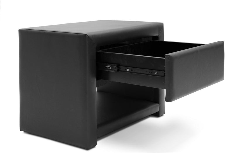 Massey Black Upholstered Modern Nightstand