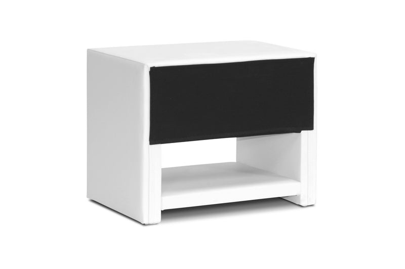 Massey White Upholstered Modern Nightstand