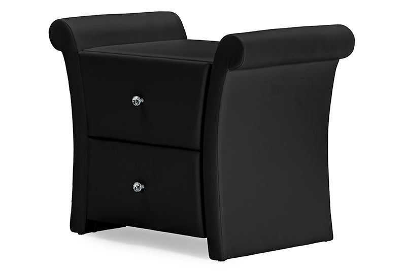Victoria Matte Black PU Leather 2 Storage Drawers Nightstand Bedside Table