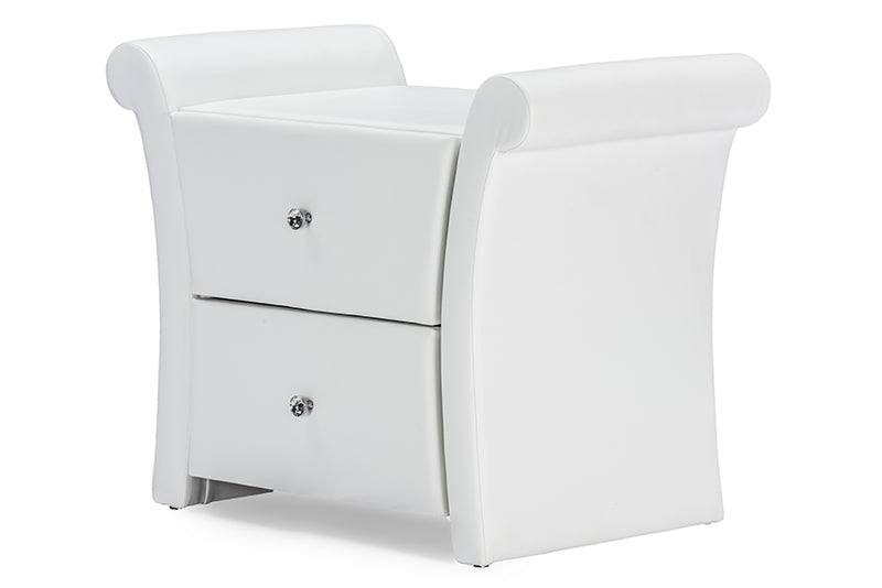 Victoria Matte White PU Leather 2 Storage Drawers Nightstand Bedside Table