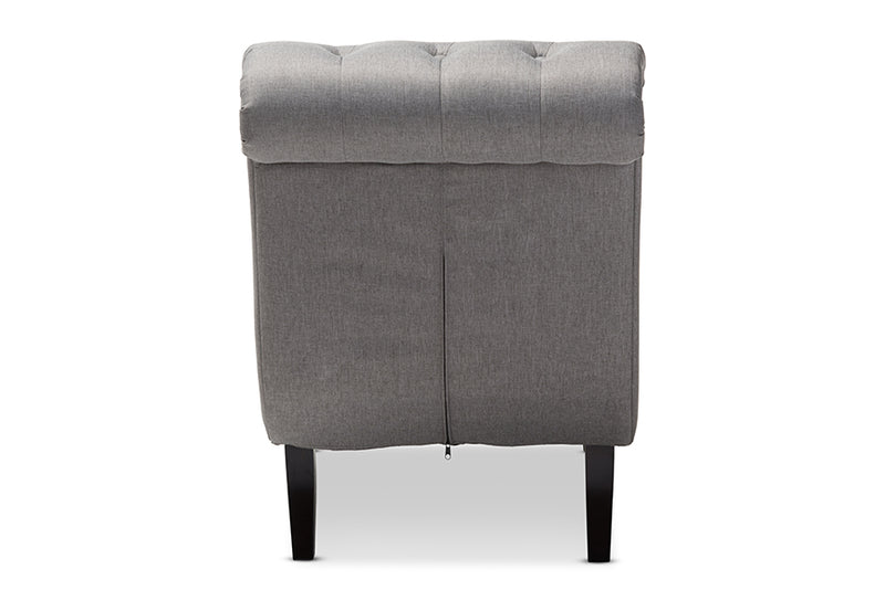 Layla Mid-century Retro Modern Grey   Button-tufted Chaise Lounge