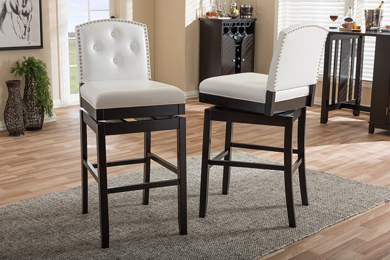 Ginaro   White   Leather Button-tufted Upholstered Swivel Bar Stool (Set of 2)