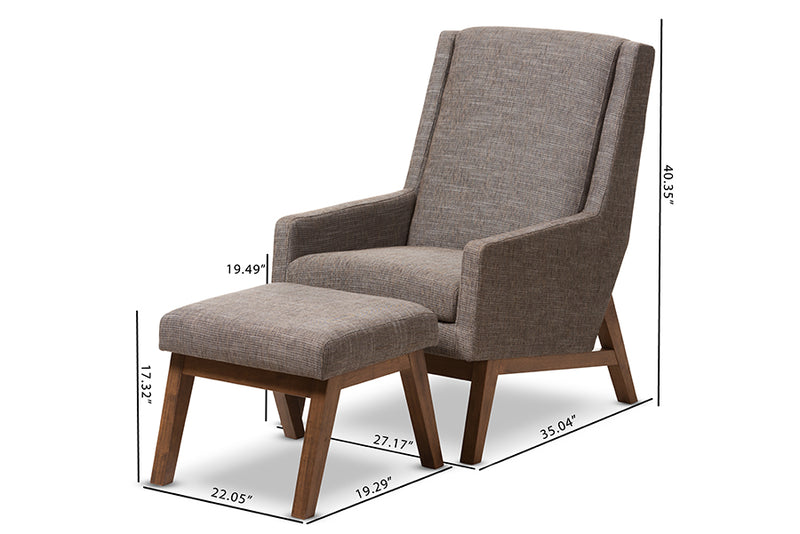Aberdeen Gravel Lounge Chair and Ottoman Set