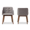 Harrison Grey and Brown Button-Tufted Accent Chair