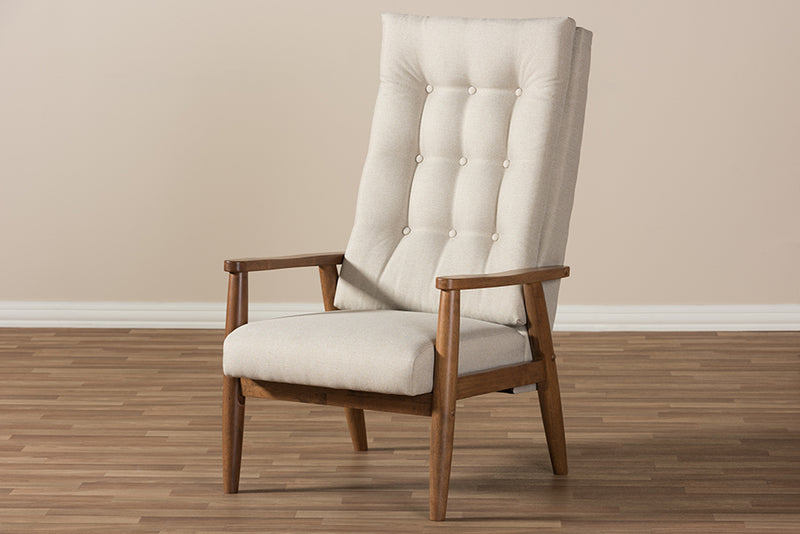 Roxy   Walnut Brown Finish Wood and Light Beige   Button-Tufted High-Back Chair